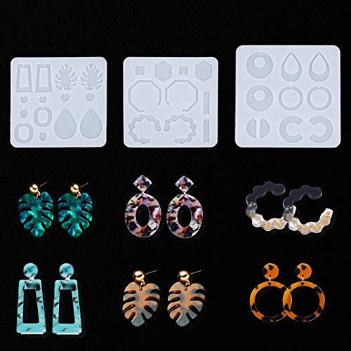 iSuperb 3 Stampi per Resina Epossidica Stampo per Orecchini con Foro Stampi Silicone Earring Resin Molds per DIY Orecchini Ciondoli Mestieri (Trasparente)