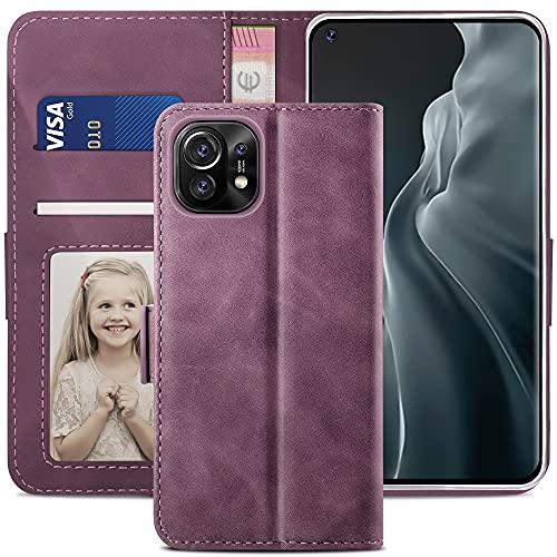 YATWIN Handyhülle Xiaomi Mi 11 5G Hülle, Klapphülle Xiaomi Mi 11 5G Premium Leder Brieftasche Schutzhülle [Kartenfach][Magnet][Stand] Handytasche für Xiaomi Mi 11 5G Hülle, Weinrot