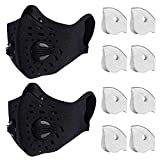 Dust Mask Anti Pollution Respirator PM2.5 Dustproof Safety Mask Washable and Reusable with 8 Carbon N99 Filters for Pollen Allergy Woodworking Mowing Running Outdoor Activities, 2 Packs (Black)