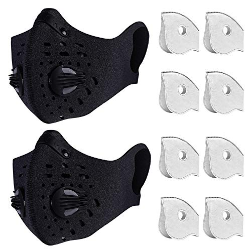 Dust Mask Anti Pollution PM2.5 Dustproof Masks Washable and Reusable with 8 Carbon Filters for Pollen Allergy Woodworking Mowing Running Outdoor Activities, 2 Packs (Black)