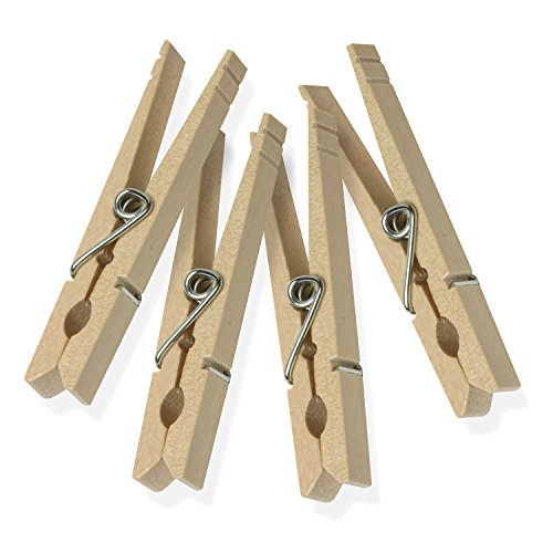 Honey-Can-Do DRY-01374 Wood Clothespins with Spring, 24-Pack, 3.3-inches Length,Brown