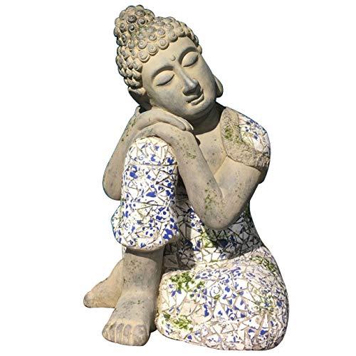 zenggp Ornement Cour Intérieure Bouddha Ice Crack Villa Jardin en Porcelaine Bleue Et Blanche Décoration Zen Résine