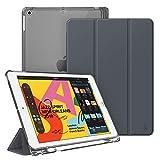 Fintie Hülle mit Pencil Halter für iPad 10.2 2019, Ultradünn Superleicht Schutzhülle mit transparenter Rückseite Abdeckung mit Auto Schlaf/Wach Funktion für 10.2' iPad 7. Generation, Himmelgrau