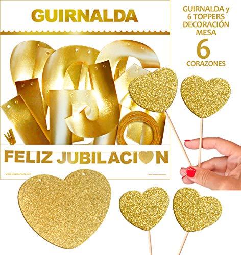 Inedit Festa - Guirnalda Dorada para Fiestas Feliz Jubilación y 6 Topper // Medida Altura Letras:11,5cm