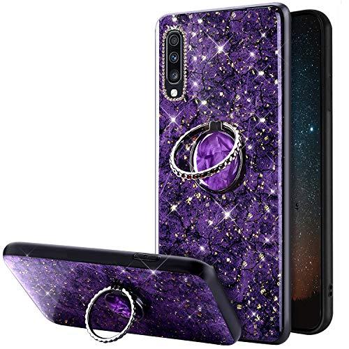 Compatible avec Samsung Galaxy A70 Coque Glitter Brillante Strass Marbre Motif Silicone Gel TPU Antichoc Housse Etui avec Bling Diamant Support de Bague Bumper Case Galaxy A70,Violet