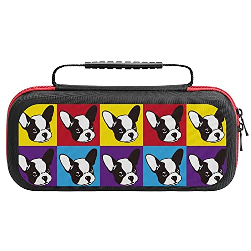 French Bulldog Face Printed Carrying Case Storage Bag For Nintendo Switch Lite & Accessories Travel Portable
