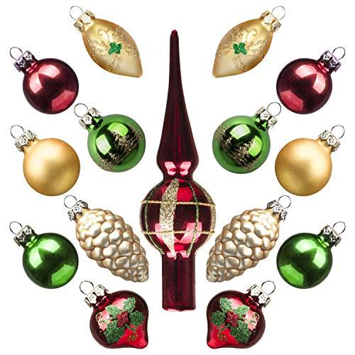 Art Beauty Mini Adornos navideños árbol de Cristal Ornamentos Bola con Topper 15 Piezas decoración Central de Mesa para Banquete de Banquete de Boda (clásico)