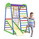 Indoor Playground Toddler Climber Slide – Kids Jungle Gym Playset – Activity Toddler Climber Structure – Play Gym Swedish Ladder - Climbing Play Structure Set – Adventure Dome Slide set – Sportwood