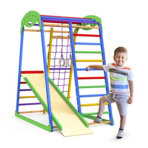 Indoor Playground Toddler Climber Slide – Kids Jungle Gym Playset – Activity Toddler Climber Structure – Play Gym Swedish Ladder – Climbing Play Structure Set – Adventure Dome Slide set – Sportwood