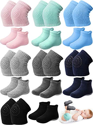 14 Pairs Baby Crawling Anti-Slip Knee Pad and Anti-Slip Baby Sock Set Unisex Non Slip Ankle Sock Toddler Knee Protector, Multicolored