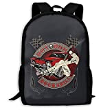 Rock Style Hot Rod Rockabilly Printed School Backpack Water Resistant Travel Rucksack Bag...