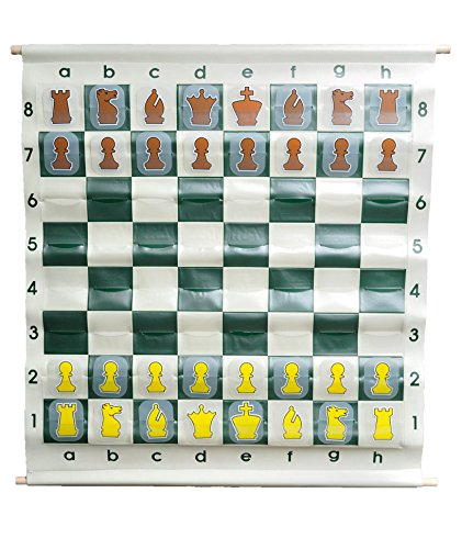 US Chess Federation 36' Pouch-Style Chess Demonstration Set with Deluxe Carrying Bag (Clear Plastic Pieces)
