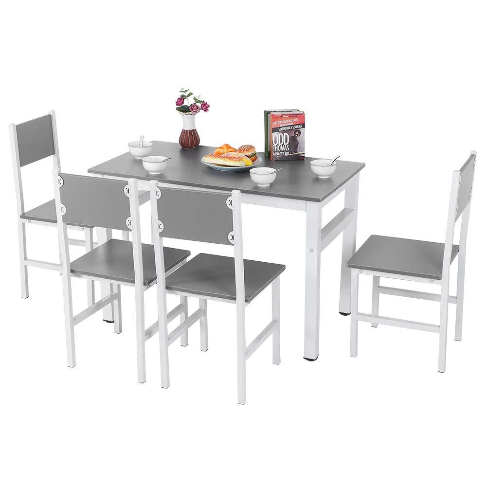 Juego de mesa de comedor de madera con 4 sillas, juego de mesa simple y moderno