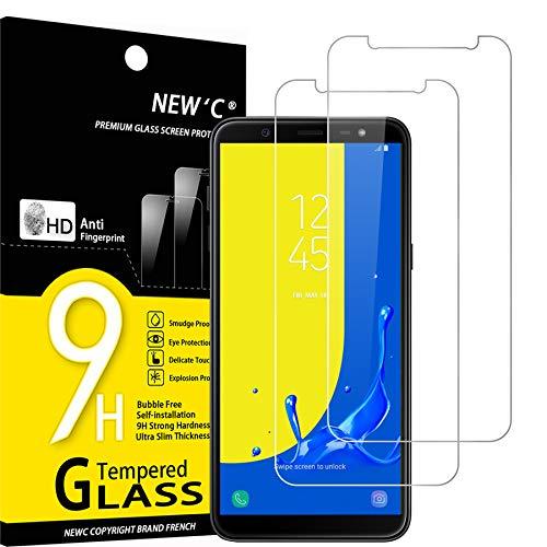 NEW'C Lot de 2, Verre Trempé Compatible avec Samsung Galaxy J6 2018 (SM-J600F) Film Protection écran sans Bulles d'air Ultra Résistant (0,33mm HD Ultra Transparent) Dureté 9H Glass