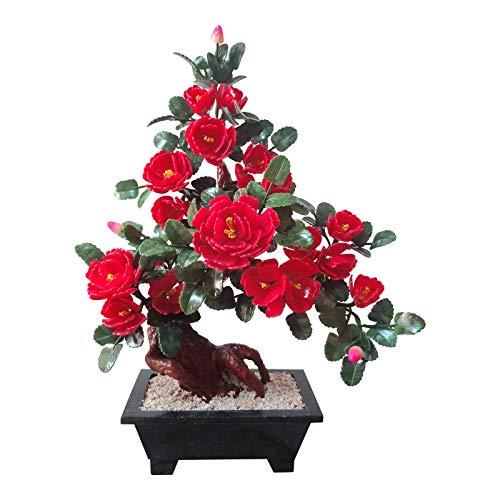 """Plantas falsas / Árboles artificiales Flor roja Artificial Bonsai Tree Plantas Artificiales Bonsai Peony Flower Simulación Potted Jade Tallado Handicraft Bonsai 26.7 """"Tall Plantas de interior artifici"""