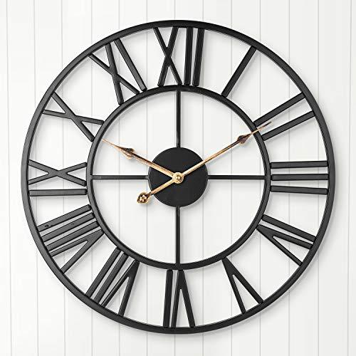 ARVINKEY Reloj de Pared Silencioso Europeo Granja Reloj Vintage con Números Romanos 40 cm No Tictac, Funciona con pilas, Esqueleto de Metal, Reloj Decorativo para el hogar, Cocina, Café (Negro)