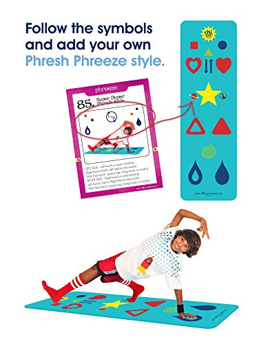 Blue Kids Yoga Mat - Phresh Chi Mat & How-to Poster - Exercise Game – Easy to Learn, Makes Yoga Fun - Helps Alignment, Flexibility, Weight-Loss, and Mindfulness - Great for Kid, Family