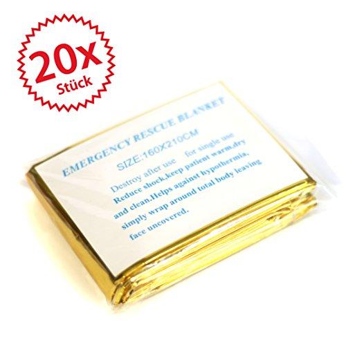 *20 x Rettungsdecke gold/silber 2,10 * 1,60*