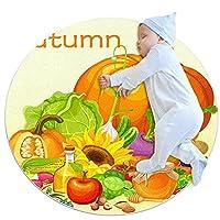エリアラグ軽量 秋のカボチャのフルーツの野菜の感謝祭 フロアマットソフトカーペット直径39.4インチホームリビングダイニングルームベッドルーム
