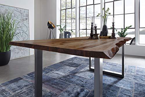 SAM Möbel Outlet Esstisch Baumkante, 140x80 cm, NOAH, Akazie, Nussbaum, U-Gestell Silber