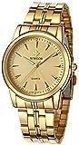 WWOOR - Reloj de pulsera para hombre, ultrafino, resistente al agua, función luminosa, movimiento japonés, analógico, de cuarzo, Dorado