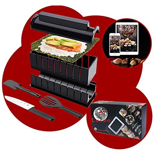 luspo Le Sushi Maker Moules à Sushi Maki Complet + 50 Recettes Offertes  avec Couteau Expert A Sushi  12 Pièces  Vous Allez Enfin réussir Vos sushis et Votre Riz du Premier Coup ! Cadeau Japon