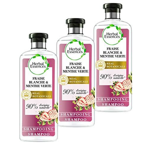 Herbal Essences Shampoing Pure Fraise Blanche et Menthe Verte Purification, 90% d'ingrédients d'origine naturelle, sans Parabènes, sans Colorants, sans Silicones, sans Paraffine, lot de 250ml x3