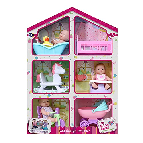 """JC Toys Lots to Love Babies - With 3 5"""" Vinyl Dolls, 6 Accessories, & Reusable Box Playhouse Gift Set"""