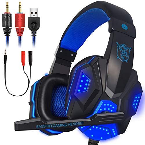 Webla Pc Headphones 2.2mm Stereo Microphone Auriculares para juegos con LED Auriculares para juegos con LED para Ps4(Negro)