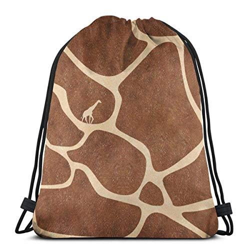 OPLKJ Kordelzug Rucksack Sporttasche Große Kapazität Leichte Freizeittaschen für Frauen Männer Giraffe Druck als BildEine Größe