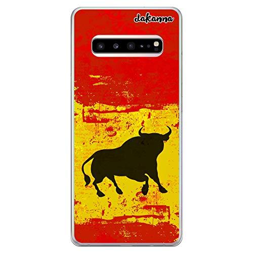 dakanna Funda Compatible con [Samsung Galaxy S10 Plus (S10+)] de Silicona Flexible, Dibujo Diseño [Bandera españa con Toro], Color [Borde Transparente] Carcasa Case Cover de Gel TPU para Smart