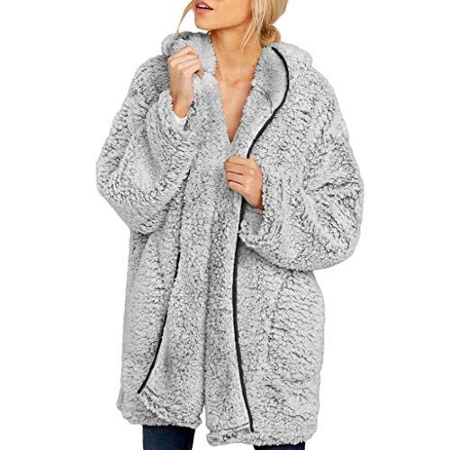 MOMOXI Abrigo de Punto de Cárdigan de Imitación para Mujer, Abrigo de Chaqueta de Punto con Capucha con Frente Abierto Fuzzy para Mujer Abrigo con Bolsillo