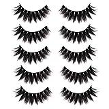 CGlash Fake Eyelashes Handmade Reusable  False Eyelashes Volume Fluffy Natural Faux Mink Eyelashes 5D Silk Eyelashes 5Pairs   Iris