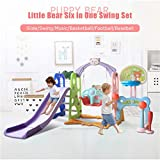 Toddler Climber and Swing Set, 6 in 1 Kids Indoor & Outdoor Slide Swing Playset W/Basketball Hoop, Football Gate, Baseball Bat, Easy Climb Stairs for Infant Playground Games (from US, Multicolour)