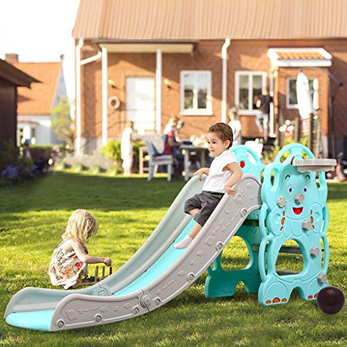 Climber and Slide Set,Toddler Freestanding Plastic Slides , Children's Slide Basketball Frame,Indoor and Outdoor Playground Easy Climb Stairs Playset for Boys and Girl (Blue)