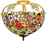 DALUXE Lámpara de Techo de Estilo Tiffany, 40 cm idílico Creativo Colorido Vidrio y joyería grub diseño Techo Techo Encendido de Techo para el Dormitorio, E27
