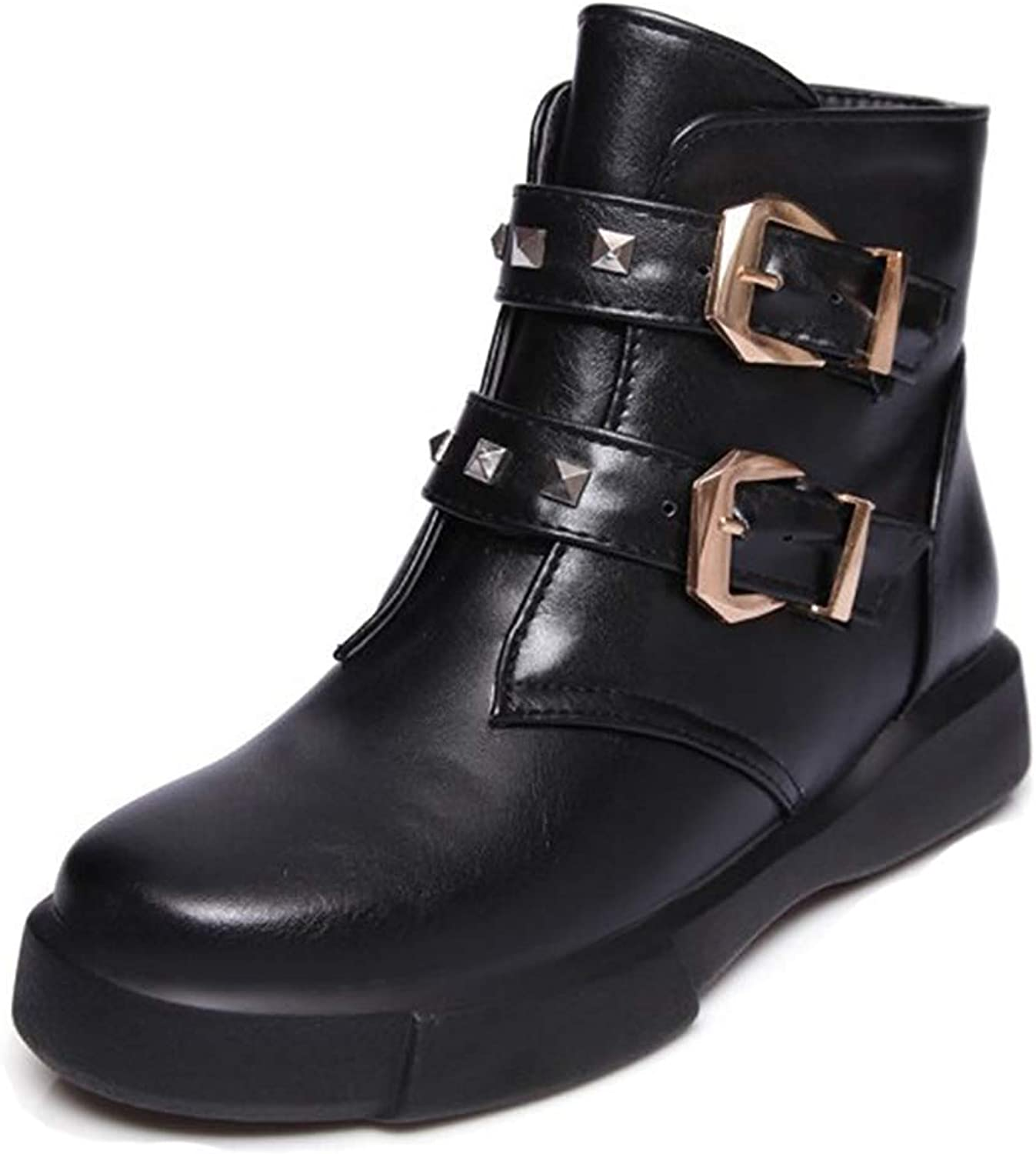 Unm Women's Studded Buckle Strap Round Toe Thick Sole Motorcycle Boots Pull On Flat Platform Ankle Booties