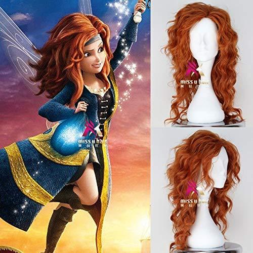 """55cm / 21,5\""""Tinker Bell und die Piratenfee Zarina Cosplay Perücke Frauen lange orange lange gewellte Haare Perücke Kostüme One Size orange"""