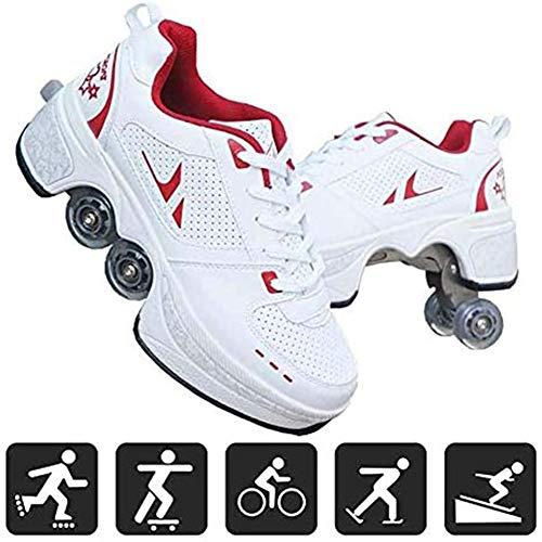 Hmyloz Rolschaatsen met 4 wielen sportschoenen multifunctionele sportschoenen voor kinderen en volwassenen