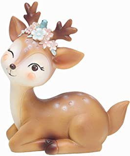 Resin Cute Deer Cake Topper, Resin Deer Figurines, Home & Party Decoration for Birthday Wedding Anniversary Party (a-Elegant)