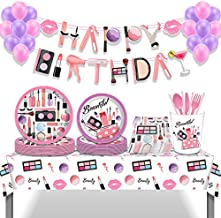 182pcs Girl Spa Party Supplies Set for 16 Guests,Birthday Gifts for Girl Kids Party Favors with Dinner Plates, Cake Plates...