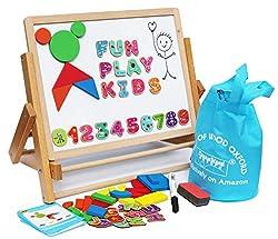 Holz Staffelei Kreidetafel Magnettafel für Kinder- mit Magneten Formen Buchstaben Zahlen Stift und Papierrolle - Aufbewahrungssäckchen inklusive - Klappbar und einfach zu verstauen