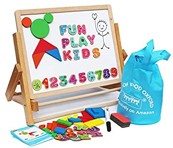 TOWO Wooden Easel for Children Foldable Double Magnetic Boards Magnetic Shapes Letters Numbers and Paper roll Kids Art Easel -Table Top Magnetic Board for Kids
