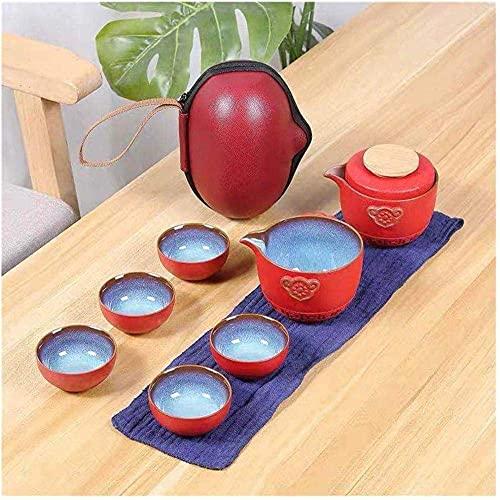 Tetera Estilo japonés, Conjuntos de té para Adultos Té Chino Viajes Kung Fu Teaset Cerámica Tetera portátil Tetera Porcelana Tazas de té Gaiwán Ceremonia de té-1 (Color : 1)