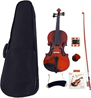 2019 New 1/2 Size Violin Case Acoustic Violin Case Durable Natural Solid Wood Fiddle for Beginners and Students w/Case,Bow and Rosin Strings Tuner Shoulder Rest Coffee(US stock)