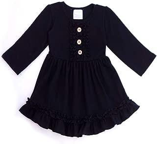 Honeydew cutie Boutique Black Solid Ruffle Dress