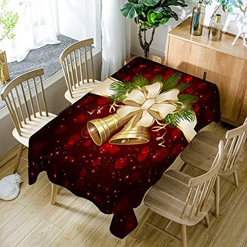GSJJ Rechteckig Weihnacht Tischdecke Wählbar Wachstischdecke Gartentischdecke Abwaschbar Rot,Größe Wählbar,Glatt Weihnachten Bescherung,150 * 300