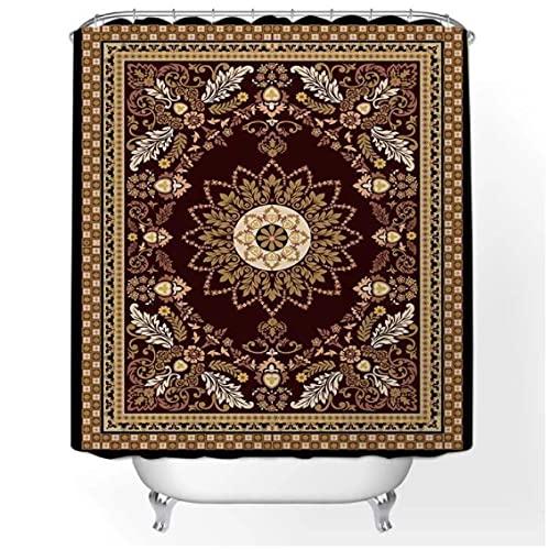 Cortina de Ducha de Mandala Indio Retro, baño marroquí, Resistente al Moho, Lavable, Impermeable, Tela de poliéster para decoración de bañera