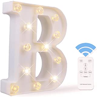 Obrecis LED Letter Lights White Marquee Letters Alphabet Light Up Sign with Diamond Bulbs Remote Control Timer Dimmable Wedding Birthday Party Decoration Letters (B)
