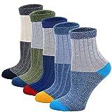 LOFIR Calcetines de Algodón para Niños Calcetines Cómodos y Suaves de Escolares, Calcetines de Deporte Casuales, Talla 24-29, 5 pares, M